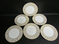 SIX WEDGWOOD W4219 GOLD FLORENTINE 23CM BREAKFAST, SMALL DINNER PLATES - VGC