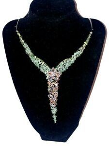 Oval 5x3mm Sapphire Emerald Tourmaline Gems 925 Sterling Silver Necklace 17.5 In