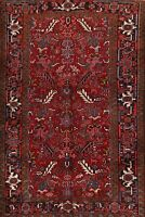 Vintage All-Over Red 7x10 Vegetable Dye Heriz Geometric Area Rug Hand-knotted