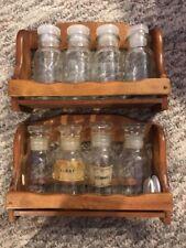 Vintage Spice Racks GLASS JARS  Wood Rack Wall Hanging Storage Germany