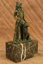 """Bronze Sculpture indian """"Wolf Scout"""" warrior / Marble Base Handcrafted Figurine"""