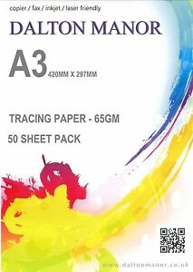 A3 TRACING PAPER 25/50/100/250 SHEET PACKS TRANSLUCENT 65gm CALIGRAPHY / CRAFTS