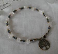 Rose Quartz Gemstone Chips Hematite Tube Beads Tree of Life Charm Anklet