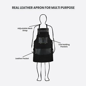 Black Canvas With Black Pocket Butcher - BBQ Cooking Apron Hairstylist Apron A2