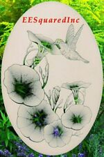 Morning Glory and Hummingbirds Static Cling Window Decal 10x16 Oval Glass Decor
