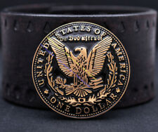 10pc Gold Heavy Eagle Dollar Replica Coin Leathercraft Belt Wallet Concho 1-1/2""