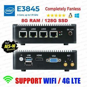 Intel Atom® E3845 4 LAN 3G/4G 8G RAM/120G SSD Fanless pfSense Firewall AES-NI