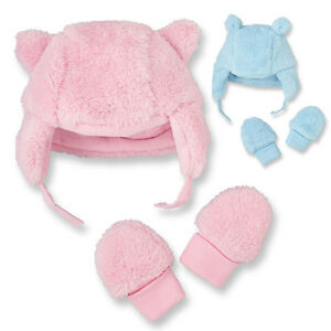 The Children's Place Baby Boy Girl Cosy Coral Fleece microflece Hat Mitten Set