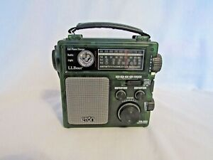L.L.Bean AM/FM/TV/Weather Radio FR-300 Green See Thru Front Battery or Crank
