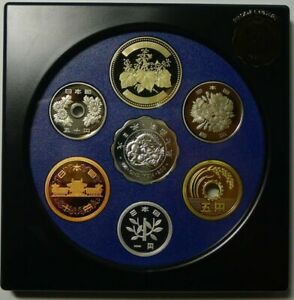 JAPAN 6 Coins 2000 Proof Set With Old Silver Coin Medal Technomedal-2