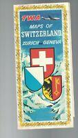 TWA Maps of Switzerland Zurich & Geneva Brochure 1957 Airlines