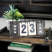 Vintage Metal Flip  Calendar Tabletop Industrial Look Desk Home Office Decor