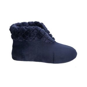 DEARFOAMS VELOUR BOOTIE SLIPPERS (S 5-6) Peacoat Blue Navy MACHINE WASH NEW