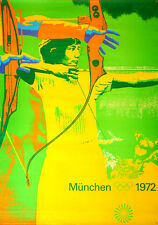 MUNICH 1972 OLYMPICS ARCHERY A0 33x47 poster OTL AICHER art RARE VINTAGE