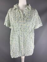 Kew for Jigsaw Size UK 12 Ditsy Yellow Green Floral Gathered Pleat Detail Summer
