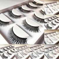 5 Pairs Long Cross False Eyelashes Makeup Natural Fake Thick Black Eye Lash Zc