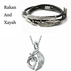 League of Legends Xayah Rakan Lover Bracelet Necklace 925 Silver Pendant Jewelry