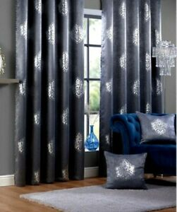 Deco Metallic Blockout Pencil Pleat Curtains Silver / Charcoal Size 66 X 72""