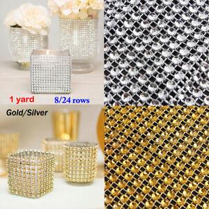 8/24 rows 1 yard gold silver crystal rhinestone diamond mesh wedding decor 4408