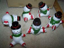 Vintage Tiny,Tumbling, Ice Skating, Porcelain Snowmen, Set of 6 New In Box