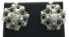 Antique Style Sterling Silver 925 Agate Pearl Floral Elegant Stud Post Earrings
