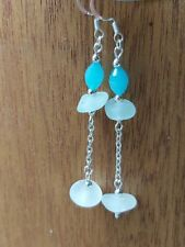 Genuine white sea glass long earrings