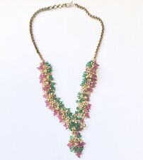 VINTAGE EMERALD RUBY RHINESTONE CRYSTAL GOLD PLATED NECKLACE