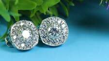 3Ct Round Cut Moissanite Clip-On Leverback Stud Earrings 14K White Gold Finish