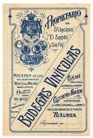 ANUNCIO DE PUBLICIDAD Y PRECIOS BODEGAS VINICOLAS SAN JACINTO MALAGA  205x137mm