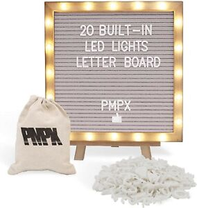 Letter Board Gray Felt Board with Stand Built-in LED Lights 10 x 10