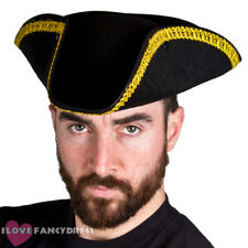 BLACK TRICORN HAT WITH GOLD BRAIDING FELT PIRATE CAPTAIN FANCY DRESS HISTORICAL