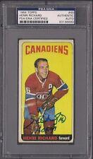 HENRI RICHARD SIGNED TOPPS 1964 CANADIENS HOCKEY CARD #48 PSA/DNA Auto SP HOF 79