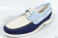 "NIB mens COLE HAAN 'Hayden"" beige/blue/navy moccasin loafers boat shoes 8.5"
