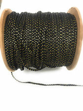 3mm Soutache Black Gold Lurex Braided Cord Beading , Sewing , Trims 12 Yards