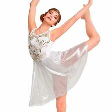 Dance Costume Medium Adult Metallic White Dress Lyrical Ballet Solo Competition
