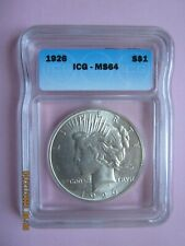 1926 Peace Silver Dollar - Graded ICG MS64