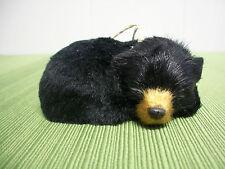 Winter Wildlife Soft Faux Fur Black Brown Curled Sleeping Bear XMas Ornament NWT