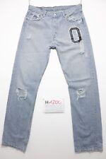 Levis 501(Cod.H1200)Tg.48 W34 L36 con rotture e patch  jeans usato