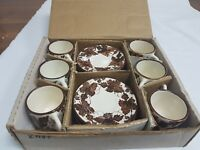 "CYPRUS ""MOSES"" HAND MADE POTTERY CUPS AND SAUCERS SET – BOXED"