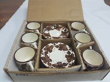 """CYPRUS """"MOSES"""" HAND MADE POTTERY CUPS AND SAUCERS SET – BOXED"""