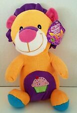 Plush Lion Stuffed Animal Lovey Orange Cupcake Purple Birthday  Sugar Loaf 10""