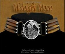 Midnight Moon Wolf Leather & Beads Choker Necklace Wolves Art - Free Ship #E*
