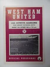 More details for west ham united v liga dep. ala   1960/1961   ernie gregory testimonial   10 oct