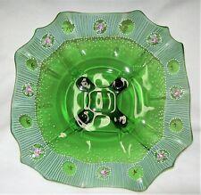 Vintage Cambridge Emerald Green Ruffled 4 Toed #3400 Bowl Hand Painted OOAK