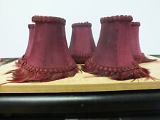 5 Fabric Clip On Mini Lamp Chandelier Shades Burgundy With Feathers Lampshades