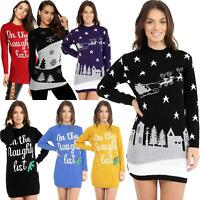 New Ladies Womens Christmas Xmas Sweater Naughty List Tunic Novelty Jumper Dress