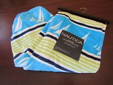 Nautica blanket throw 50x70 nwt stripes with sails blue green