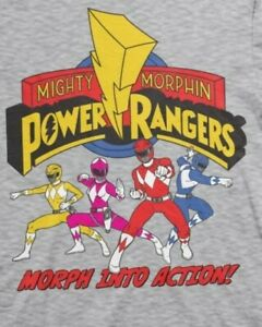 MIGHTY MORPHIN POWER RANGERS Morph into Action GREY T-SHIRT new + tag XXL saban