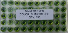 "150pcs, Holographic Chartreuse 3d adhesive fish eyes  6mm(1/4""), Fly Tying"