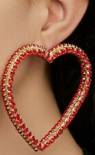 Women's Red Exaggerated Large Heart Rhinestone Earrings